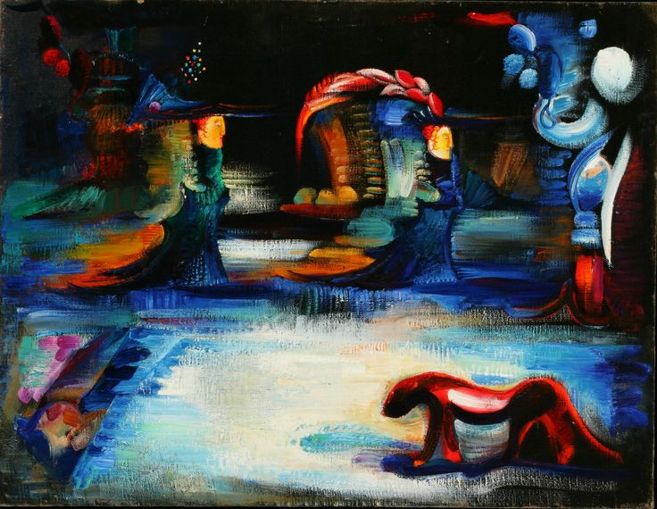 "Artist: Gayane Khachaturian Title: ""Blue Mendale"" Medium: Oil on Linen Year: 1976 Dimensions: 31"" x 24"" (inches)  Condition: Excellent Framed/Unframed: Framed P"