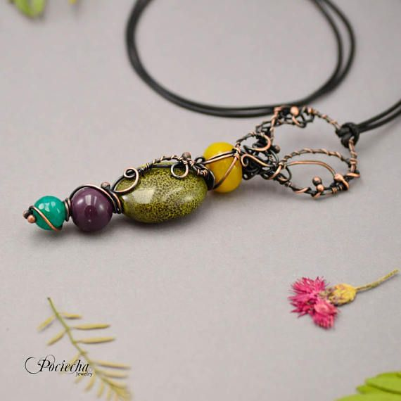 Christmas giftcolorful copper gem necklacemagic