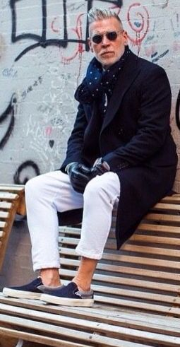 Nick Wooster, Navy Coat, and White Jeans, Men's Spring Summer Fashion.