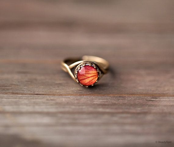 Orange Rose ring  Flower jewelry  Adjustable ring  by BeautySpot.