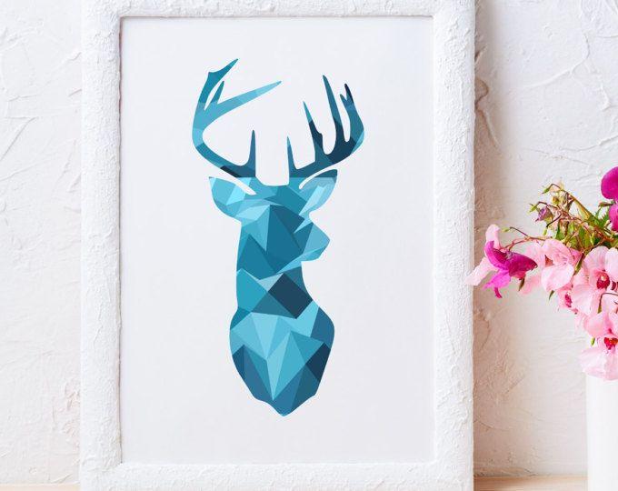 Herten print geometrische herten print blauw herten hoofd afdrukken herten afdrukbare driehoek herten print Scandinavische print herten muur art print afdrukbare