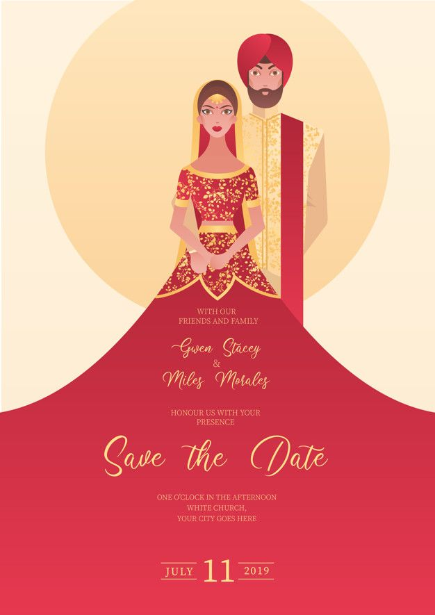 Indian Wedding Invitation With Characters Free Vector