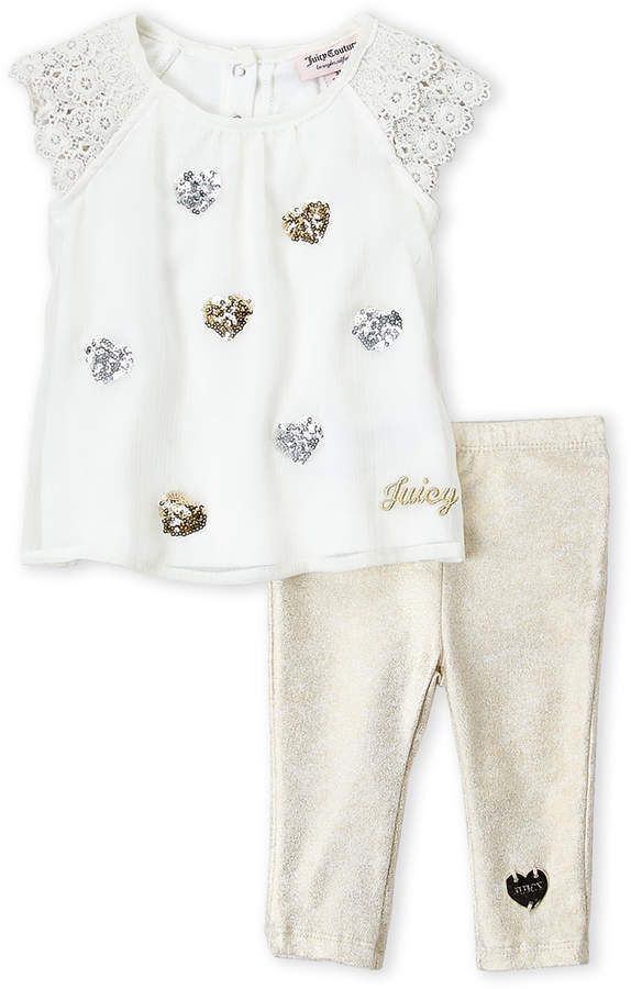 4f6ed727c Newborn Girls) Two-Piece Sequin Heart Tunic & Leggings Set  #logo#snap#embroidered