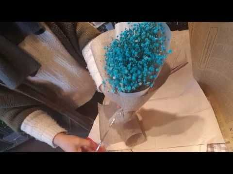 How to wrap a colorful round bouquet - YouTube