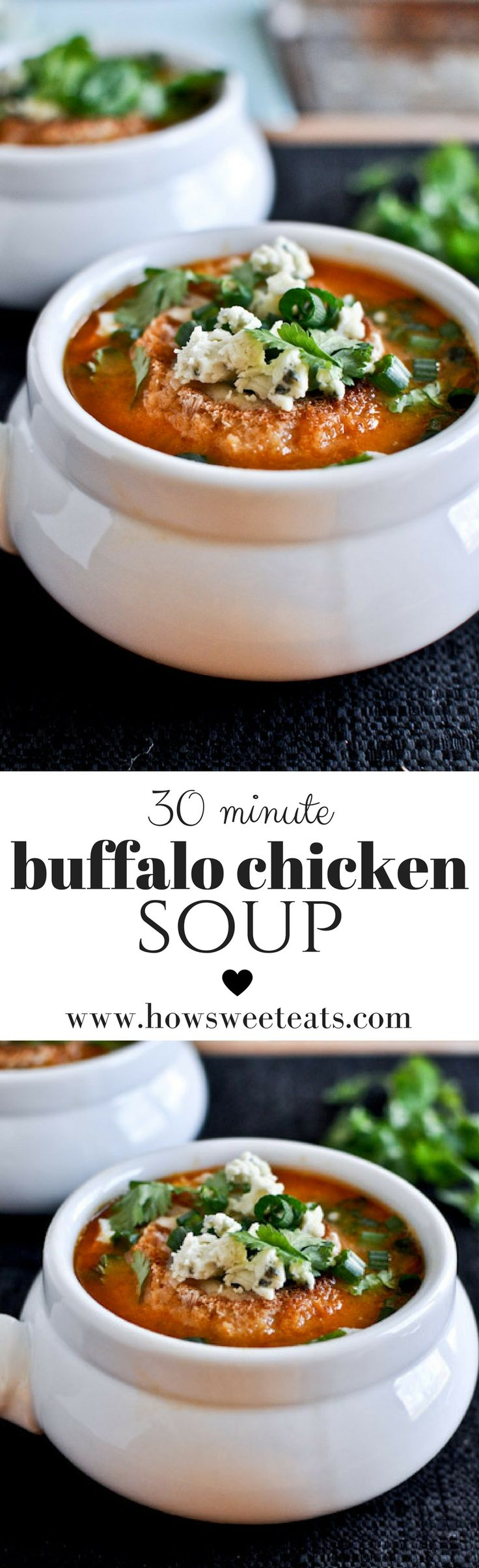 EASY Buffalo Chicken Soup in 30 minutes! I howsweeteats.com @howsweeteats