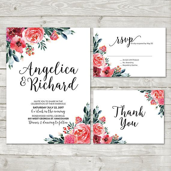 Watercolor Flower Wedding Invitation Boho Floral Invite