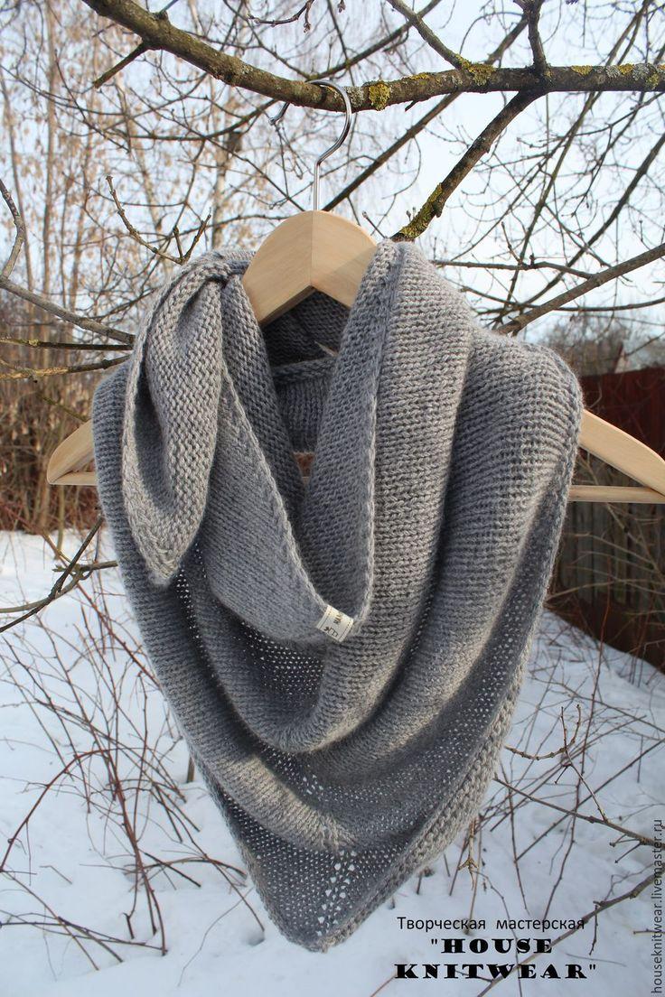 Купить Вязаная шаль,платок женский - серый, серая шаль, шаль спицами, шалька