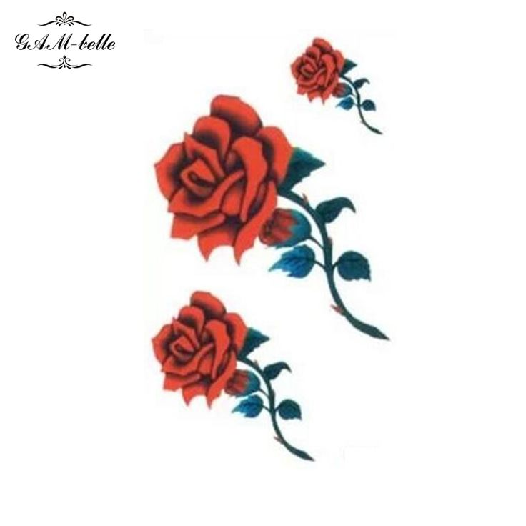 Small Picture Fire Red Rose Flower Tattoo Stickers Leg Ankle Body Painting Durable Waterproof Tattoo Stickers #Affiliate
