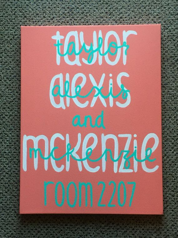 12x16 Dorm Room Name Sign by PaintedPeachStudio on Etsy
