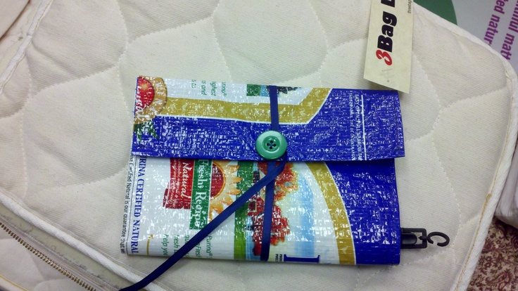 fold-up clutch made of chickenfeed sack (April 2012)