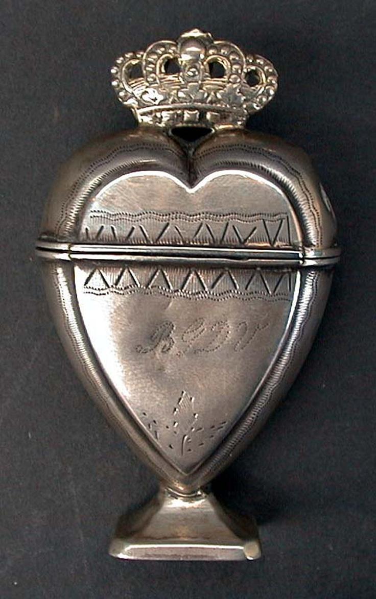 Danish heart-shaped spice box, 18th centuryHeart Shapped Spices, Danishes Heart Shapped, Heart Shape, Spices Boxes, Century Danishes, 18Th Century, Danishes Heartshape, Heartshape Spices, Silver Heart