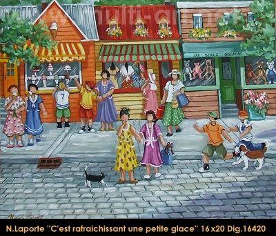 Nicole Laporte original oil painting on canvas #nicolelaporte #art #artist #canadianartist #quebecartist #naiveart #summerscene #icecream #originalpainting #oilpainting #balcondart #multiartltee