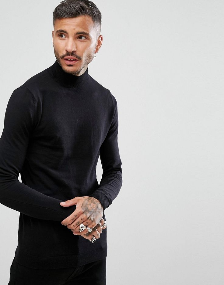 ASOS Turtleneck Sweater In Black - Black