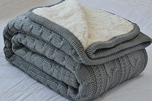 Luxury All Season Soft Cable Sweater Knitting Throw Blanket Quilt Throw with Sherpa Lining for Bed Sofa Couch Decor Gray 51x63 Inch