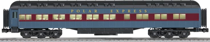 "New Standard O heavyweight passenger cars in the official Polar Express paint scheme: Diner and Combination Car  Features Die-cast metal sprung trucks and operating couplers     Hidden uncoupling tabs     Flexible diaphragms between cars     Opening doors     Authentic Polar Express decoration and details     Includes waiter figures, children figures, and an     old-fashioned hot chocolate ""maker""      Gauge: Standard O Dimensions: Length: 19"" Minimum Curve: O-54"