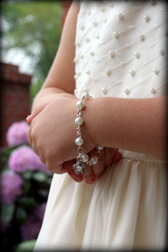 Flower Girl Bracelet-Flower Girl Gift-Flower Girl Jewelry-Miniature Bride-Rhinestone Charm-Charm Bracelet-Pearl Bracelet-Dream Day Designs on Etsy, $16.00