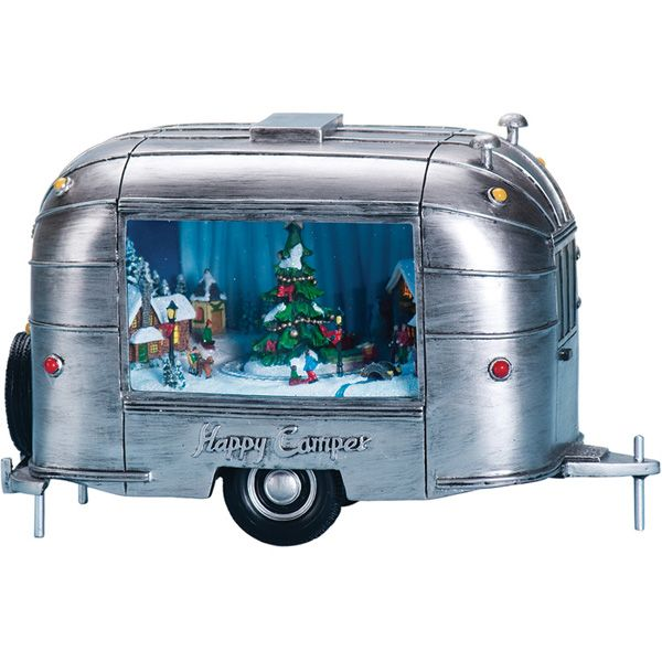 Retro Trailer Music Box | Airstream Style Music Box Camper Music Box | Retro Christmas Music Box