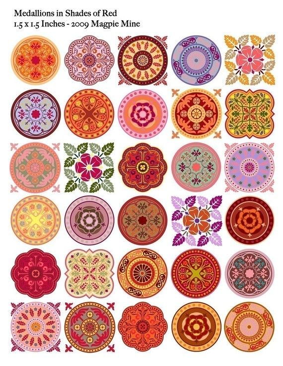 Instant Download - Medallions - Red Mandalas Collage Sheet - 1.5 Inch Squares and Circles - Digital Download - Printable