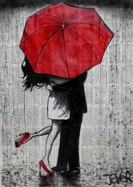 "Saatchi+Art+Artist+Loui+Jover;+Drawing,+""big+red+umbrella""+#art"