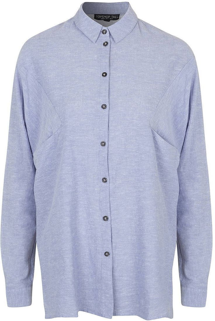 Womens light blue grey tall oversized neppy shirt from Topshop - £32 at ClothingByColour.com