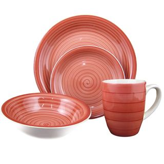 16-Piece Red Swirl Stoneware Dinnerware Set | Overstock.com Shopping - The Best Deals on Casual Dinnerware