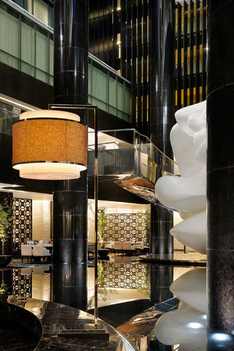 Lobby at Park Hyatt Hyderabad, designed by HBA/Hirsch ...
