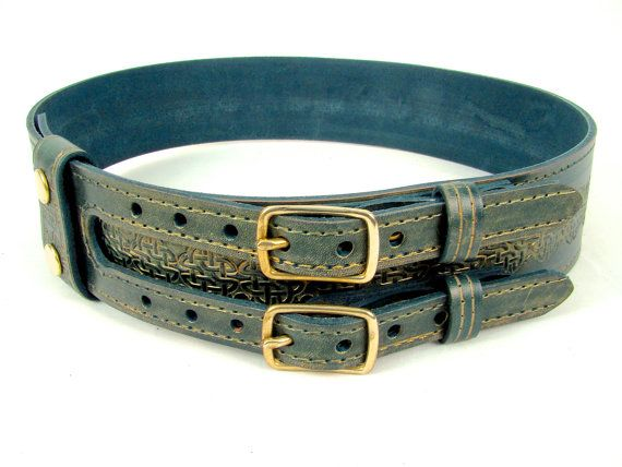 Kilt Belt Green Leather Double Buckle with Celtic Circle Knot Handmade by Holy Heck USA