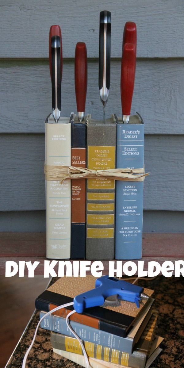 I just shared how you can make this super cute knife holder. It only costs me $4! check it out here: http://asweetpotatopie.com/2016/09/10/diy-book-knife-holder/