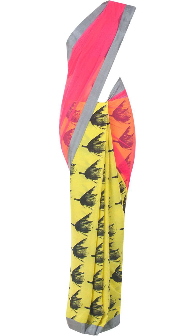 Yellow tulip print sari by MASABA. Shop at http://www.perniaspopupshop.com/whats-new/masaba-74