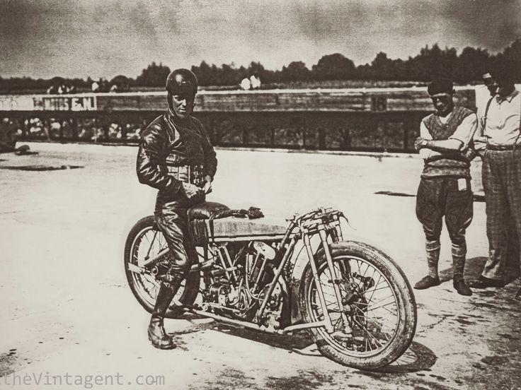 Bert LeVack on a JAP powered Brough on a speed attempt at Brooklands