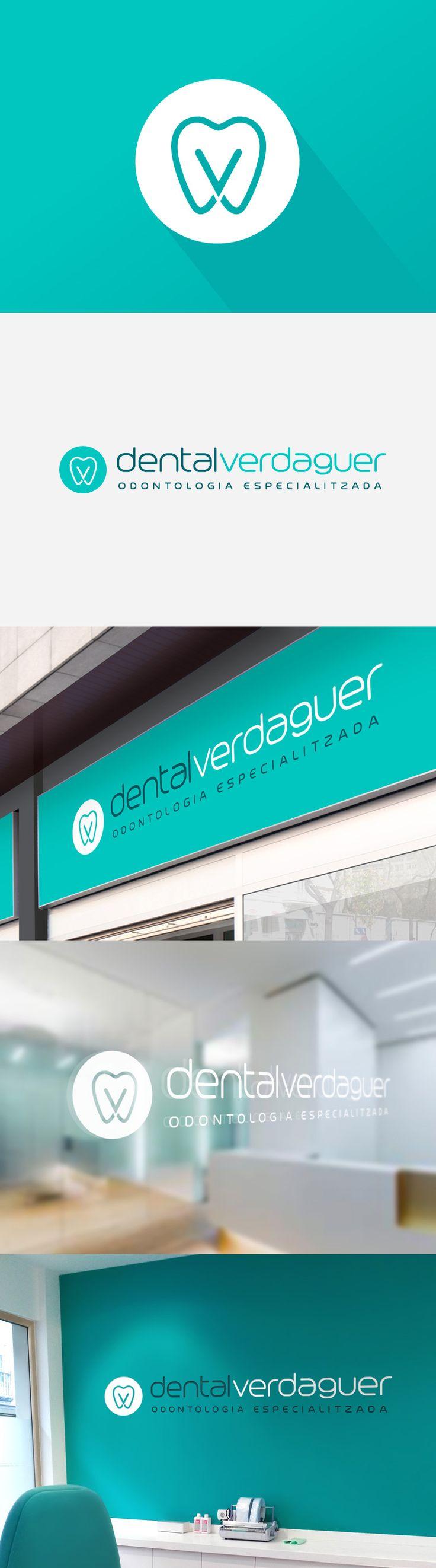 """Diseño de logotipo para Dental Verdaguer, una clínica odontológica ubicada en Igualada (Barcelona).  Las indicaciones del cliente fueron las siguientes: """"Buscamos un diseño moderno a la vez que sencillo y elegante. Me llaman especialmente la atención los tonos verdes-azulados""""."""