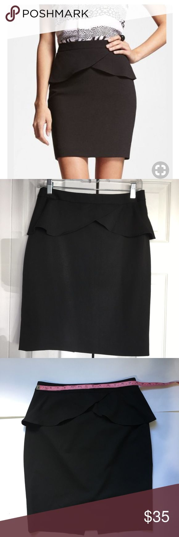 EXPRESS BLACK PEPLUM SKIRT EXPRESS BLACK PEPLUM SKIRT  Great condition  SIZE 4 more measurements pictured above Made in Vietnam  Material: 69 POLYESTER  25 Rayon  6 spandex Express Skirts Pencil