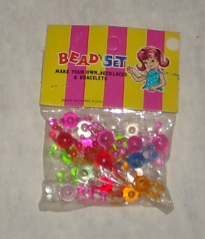 Made IN Hong Kong Plastic Neon Bead SET TOY OLD Dimestore Novelty Store Stock | eBay