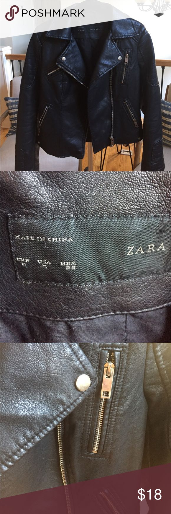 Zara Moto Jacket size M Faux leather biker jacket