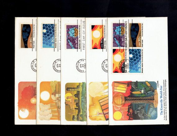 US 2006-09 Knoxville World Fair Apr 29 1982 block of 4 + 4 singles First Day Covers complete set  Sc