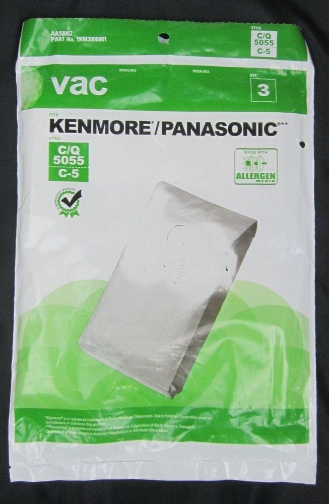 Kenmore / Panasonic Vacuum Cleaner Bags Style C/Q 5055 C-5 (3) Bags / Package #Hoover