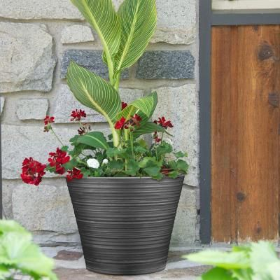 Southern Patio Cabana 16 in. Dia Resin Planter-HDR-021094 - The Home Depot