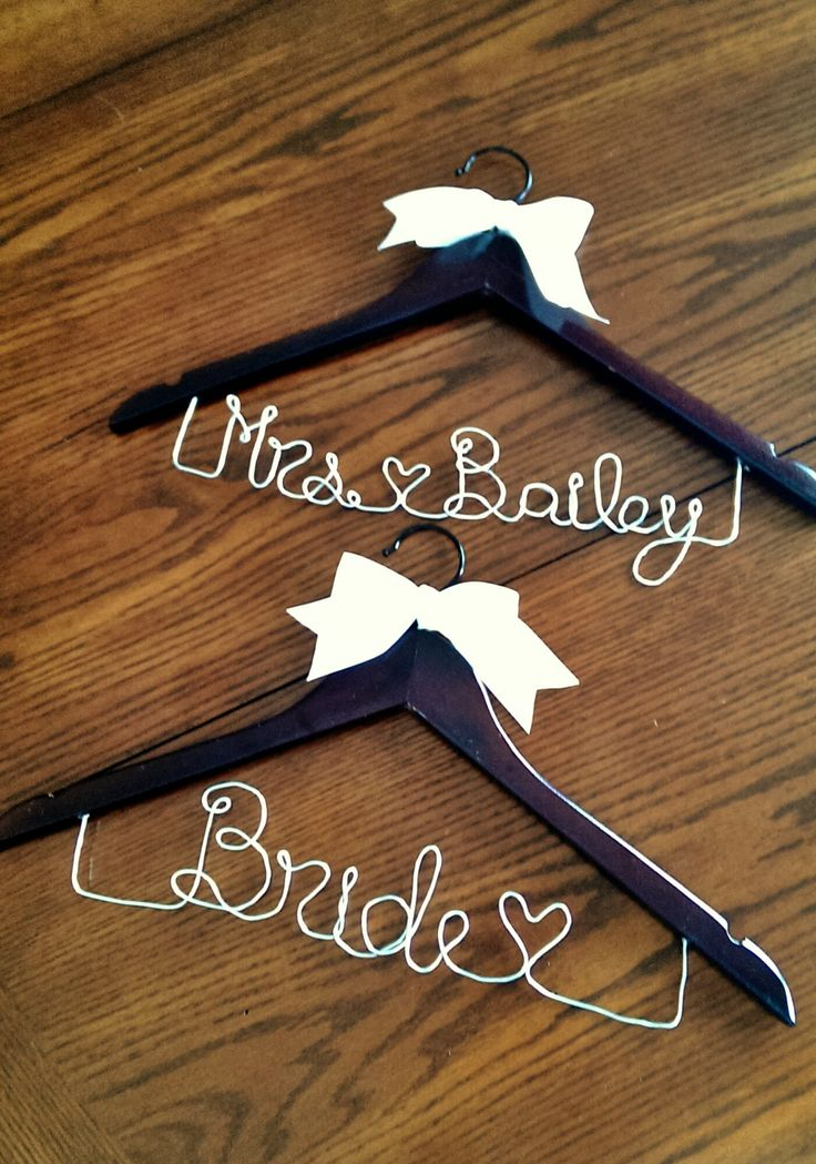 Wedding Dress Hangers for Photos, 12 gauge bead wire and ivory ribbon