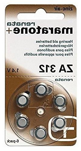 Renata Hearing Aid Battery ZA 312 Maratone Zinc Air Hearing Aid Pack of 6 pcs (3 Pack of ZA 312)