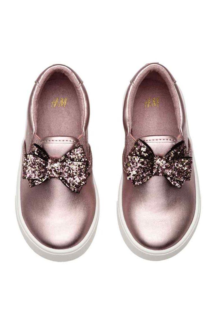 Slip-on sneakers met strik - Roze/metallic - KINDEREN | H&M NL 1