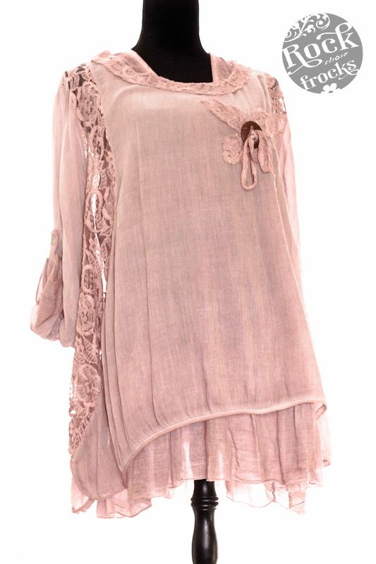 Italian Lagenlook Beautiful Plus Size Lace Trim Layering Tunic Top (O/S) Colour Options