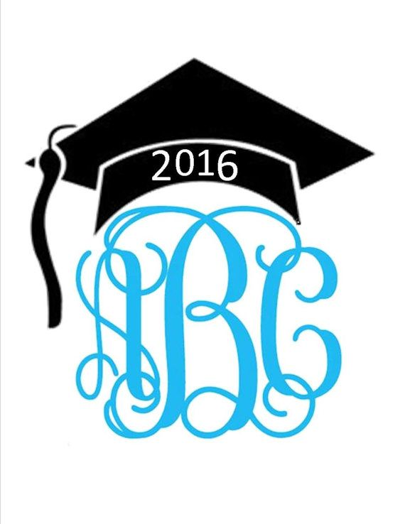 graduation hat 2016 glitter or plain vinyl monogram iron on decal multiple sizes  colors  and