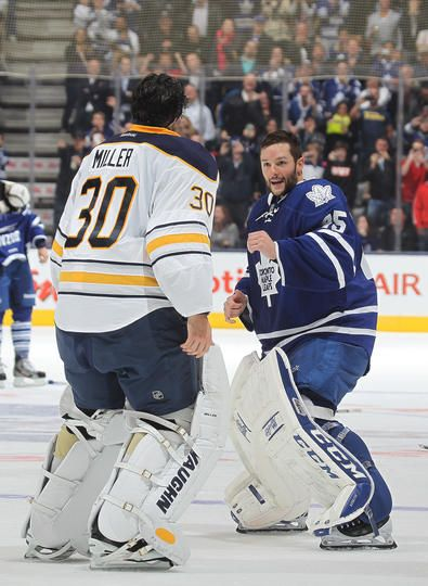 Buffalo Sabres #30 Ryan Miller and Toronto Maple Leafs #45 Jonathan Bernier