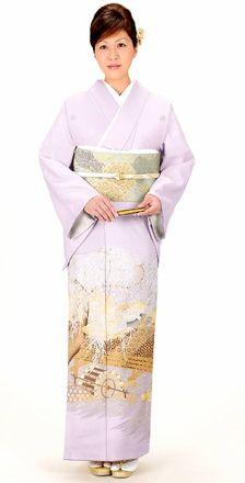 藤色に柳に鶴と橋の文様が豪華な色留袖。結婚式の参考にしたい留袖♡素敵な留袖でウェディング・ブライダルに列席♪