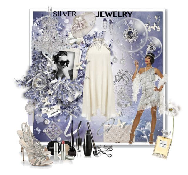 Silver jewelry by tempestaartica on Polyvore featuring moda, Lipsy, Goddessey, Sergio Rossi, John Lewis, Kate Spade, Damiani, Dower & Hall, CO and Adriana Orsini