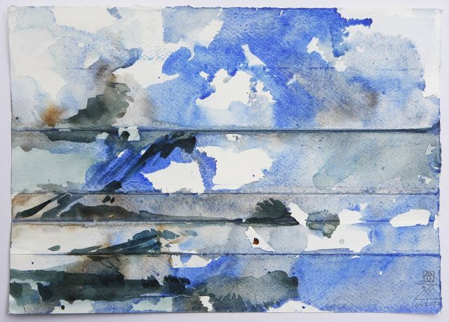 Lex Hamers. From my theme 'Skies over Holland' Watercolour. 2013
