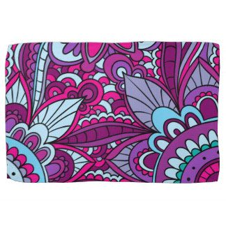 Bohemian Pattern, Vibrant Purple Hand Towel