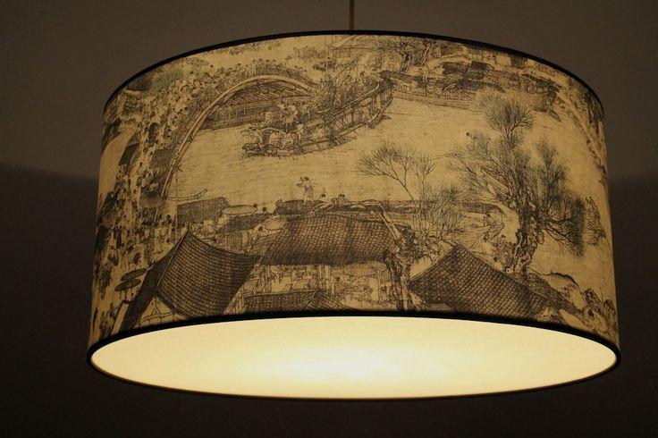 """Hängelampe chinesische Malerei,""""Hafen"""" Ming Dynastie von LichtscheuBerlin auf Etsy"""