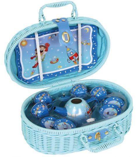 Travel to the world of fantasy with legler space picnic basket. Tin accessories include cups, plates & a tea pot.Tray helps to serve better. Plastic basket with easy to carry handle & clasp helps to store the containers in an organised way. Kids will show off their beautiful space tea set while they have a fun picnic time.