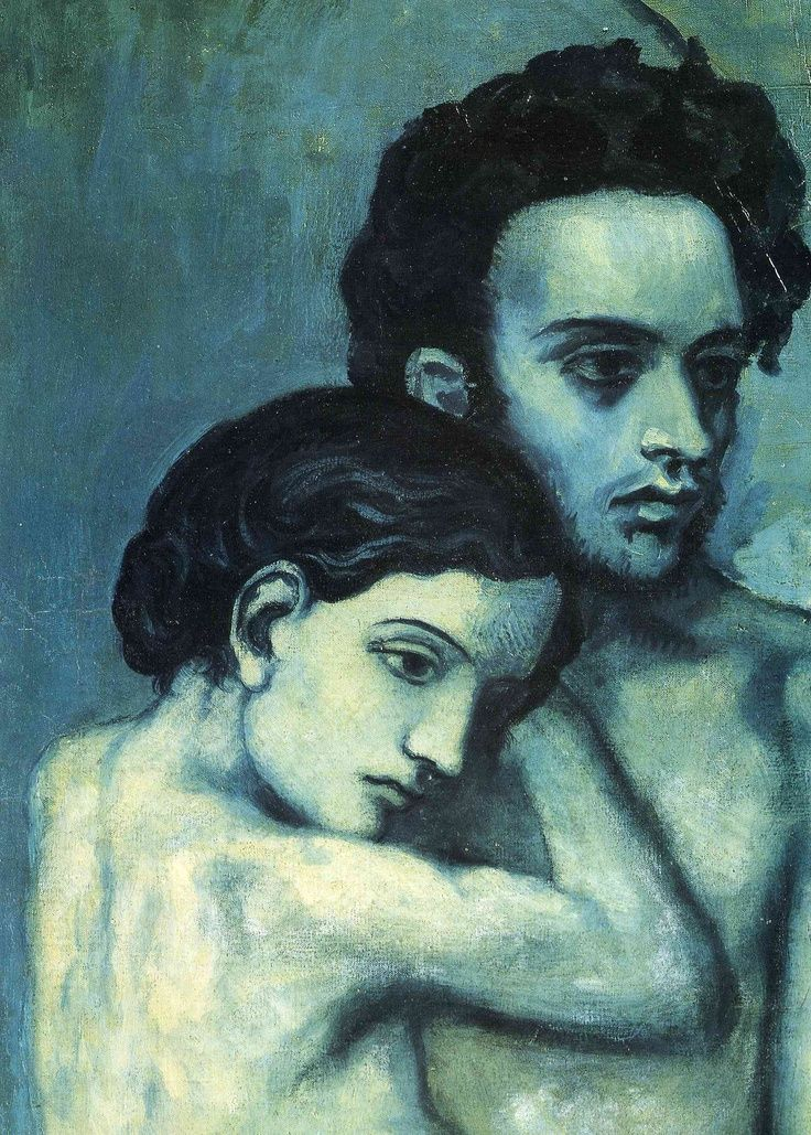 Couple are both staring at the same distant point implying they are both lost in sadness- Picasso